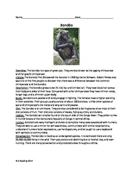 Bonobo - Chimpanzee Review Article Questions Vocabulary Ac