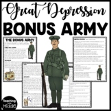 Bonus Army in the Great Depression Reading Comprehension Worksheet