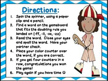 Bonus Letter / Double Letter Spinner Game ff, ll, ss, zz