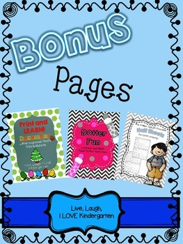 Bonus Pages { for Half Sheets, Print and Learn: December, and Dotter Fun}