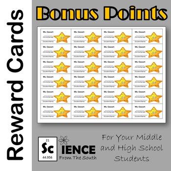 Editable Bonus Points Reward Cards FREEBIE