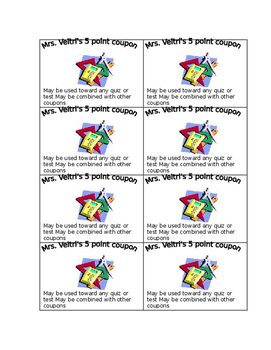 Bonus point coupons *Editable