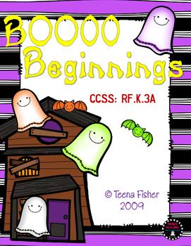 Boo Beginnings Halloween Beginning Sounds Fall Sort Phonics