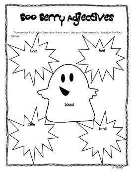 Boo Berry Cereal Adjectives and Math-Halloween