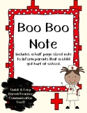 Boo Boo Note {Accident Note - Nurse Note} Easy Teacher Com