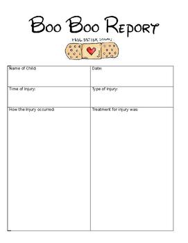 Boo Boo Report **EDITABLE**