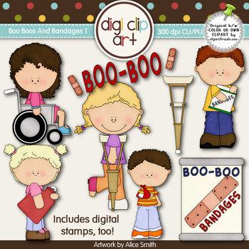 Boo Boos And Bandages 1-  Digi Clip Art/Digital Stamps - CU Clip Art