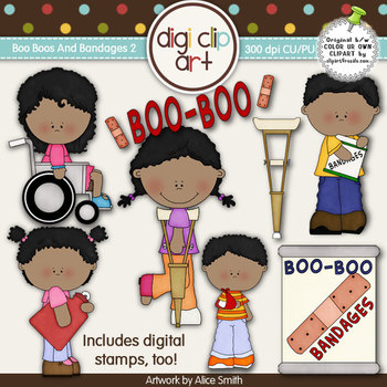 Boo Boos And Bandages 2-  Digi Clip Art/Digital Stamps - CU Clip Art