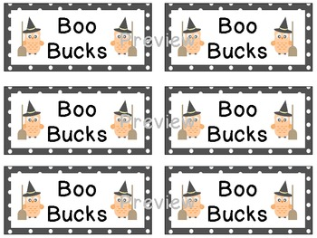 Boo Bucks Halloween Behavior Incentive