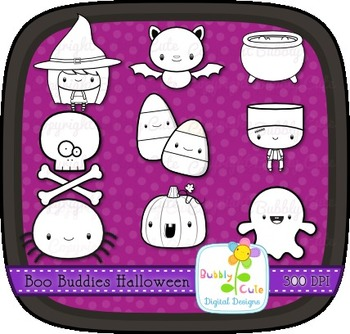 Boo Buddies Halloween Outline Clipart/Stamps