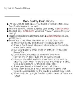 Boo Buddy Questionnaire