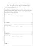 Boo Bump Add and Subtract Recording Sheet