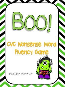 Boo! CVC Nonsense Word Fluency Game