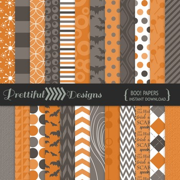 Boo! Digital Halloween Papers by Prettiful Designs