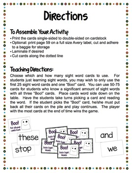 Sight Words - Boo! Dolch Sight Word Lists 1-9