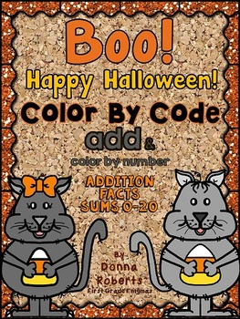 Boo! Happy Halloween! color by code color by number sums 0-20