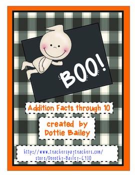 Boo! Math Game Addition Facts through 10