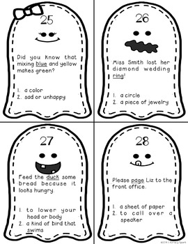 Boo!  Multiple Meaning Word Ghosts