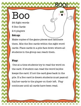 Boo Sight Word Game