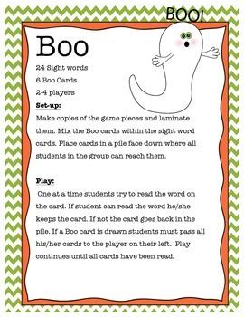 Boo Sight Word Game