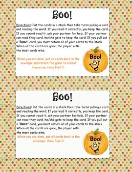 Boo! Sight Word Game