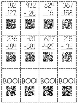 Halloween Boo! Subtraction with Regrouping QR Code Board Game