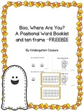 Boo, Where Are You?  A Positional Word Book and Ten Frame Freebie