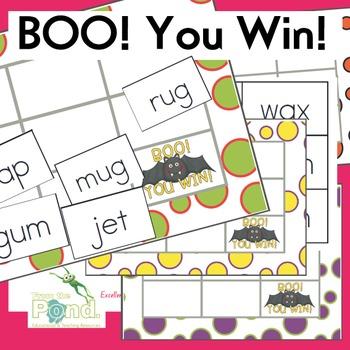 Bat Themed cvc Word Game - Boo! You Win!