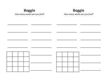Boggle paper - HALF SHEET- TWO ON ONE SHEET