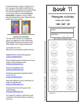 Book 11 -aint and -air Word Families for Reading and Inter