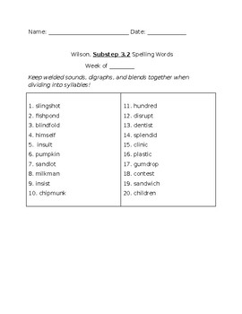 Book 3 Spelling Lists