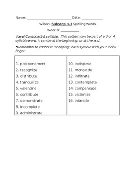 Book 4 Spelling Lists