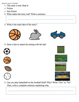 Book 54, Level C, Play Ball, Leveled Literacy by Crafted by