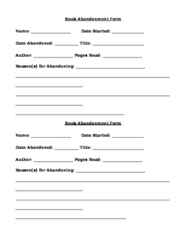 Book Abandonment Form