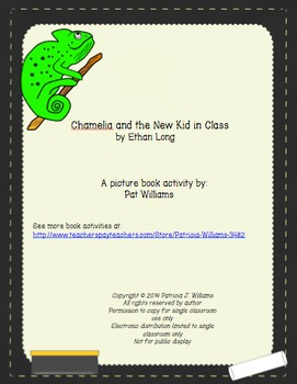 """Book Activities for """"Chamelia and the New Kid in Class"""""""