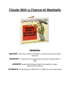 Book Activity: Cloudy With A Chance of Meatballs