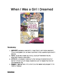 Book Activity: When I Was A Girl I Dreamed