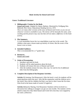 Book Activity for Hansel and Gretel