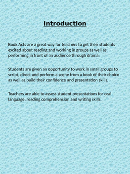 Book Acts- Language Arts through Drama