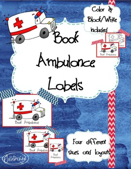 Book Ambulance Library Labels - 4 Different Layouts and Sizes