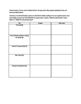 Book Analysis - Theme,, Author's Purpose, Summary, MI, SD, POV ect.