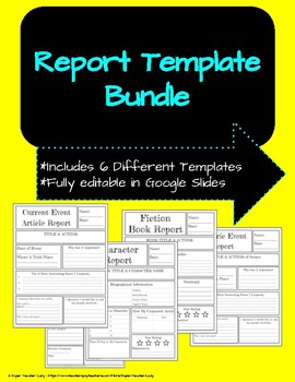 Book, Article, Event Report Template BUNDLE