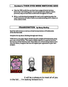 Book Assignment: Frankenstein, Native Son, THEIR EYES WERE WATCHING GOD