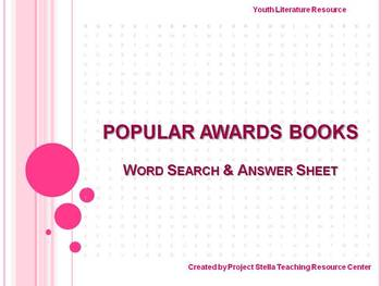 Book Awards Word Search