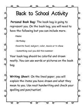 Book Bag Activity