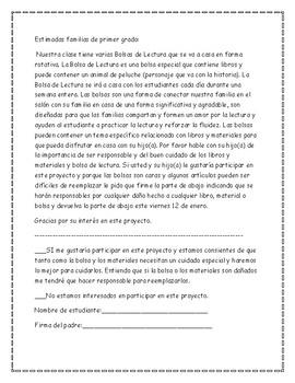Book Bag Agreement Form