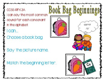 Book Bag  Beginning Sounds Phonics Back to School Literacy Center