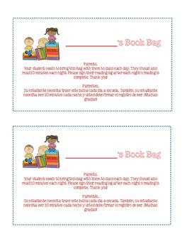Book Bag Bilingual Letter / Name Tag