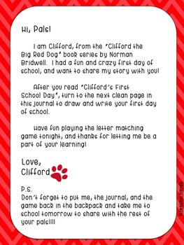 Book Bag Buddy to go along with Clifford's First School Day by Norman Bridwell