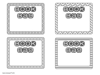 Book Bag Labels